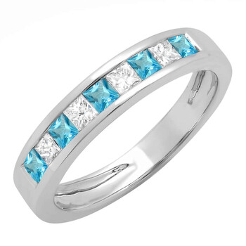 Trang sức Dazzling Rock Dazzlingrock Collection 14K Princess Blue Topaz & Kim cương trắng Nữ Anniversary Wedding Band