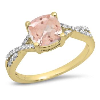 Trang sức Dazzling Rock Dazzlingrock Collection 18K 7 MM Cushion Morganite & Round Kim cương Nữ Swirl Nhẫn đính hôn