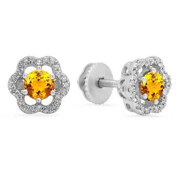 Trang sức Dazzling Rock Dazzlingrock Collection 10K 4.2 MM Citrine & Kim cương trắng Nữ Flower Shape Cluster Thời trang Stud Bông tai (khuyên tai