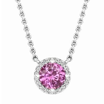 Trang sức Dazzling Rock Dazzlingrock Collection 14K Round Pink Sapphire và Kim cương trắng Nữ Halo Pendant (Silver Chain Included)