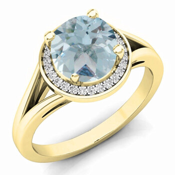 Trang sức Dazzling Rock Dazzlingrock Collection 14K 7 MM Aquamarine & Kim cương trắng Halo Style Bridal Nhẫn đính hôn