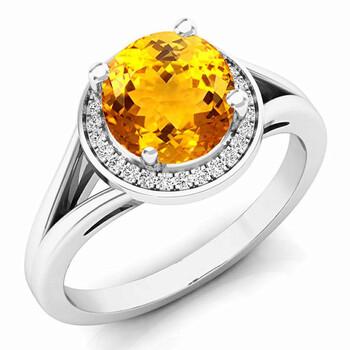 Trang sức Dazzling Rock Dazzlingrock Collection 14K 7 MM Citrine & Kim cương trắng Halo Style Bridal Nhẫn đính hôn