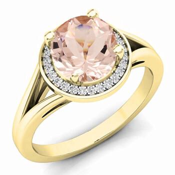 Trang sức Dazzling Rock Dazzlingrock Collection 14K 7 MM Morganite & Kim cương trắng Halo Style Bridal Nhẫn đính hôn