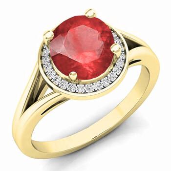 Trang sức Dazzling Rock Dazzlingrock Collection 14K 7 MM Ruby & Kim cương trắng Halo Style Bridal Nhẫn đính hôn