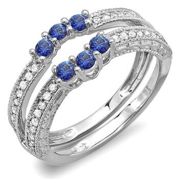 Trang sức Dazzling Rock Dazzlingrock Collection 14K Round Blue Sapphire và Kim cương trắng Nữ Wedding Band Enhancer Guard