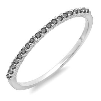 Trang sức Dazzling Rock Dazzlingrock Collection 0.15 Carat (ctw) 14K Round Kim cương đen Nữ Wedding Band Stackable Nhẫn