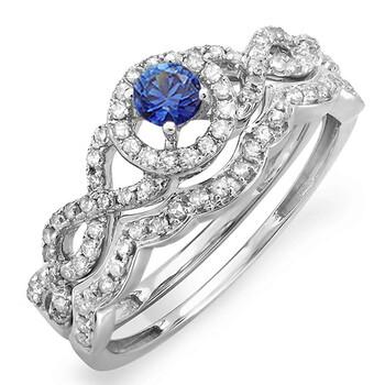 Trang sức Dazzling Rock Dazzlingrock Collection 14K Round Blue Sapphire & Kim cương trắng Nữ Halo Style Nhẫn đính hôn Set