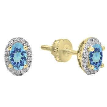 Trang sức Dazzling Rock Dazzlingrock Collection 10K 5X3 MM Each Oval Blue Topaz & Round Kim cương trắng Nữ Halo Stud Bông tai (khuyên tai