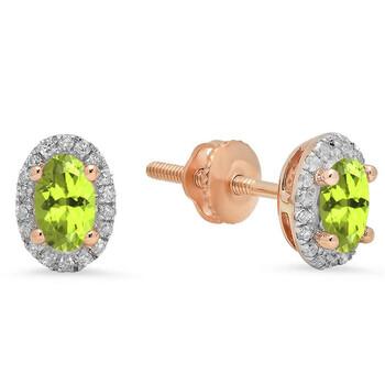 Trang sức Dazzling Rock Dazzlingrock Collection 10K Oval Cut Peridot & Round Kim cương trắng Nữ Halo Stud Bông tai (khuyên tai