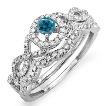 Trang sức Dazzling Rock Dazzlingrock Collection 0.50 Carat (ctw) 14K Round Blue & Kim cương trắng Halo Nhẫn đính hôn Set