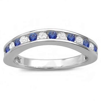 Trang sức Dazzling Rock Dazzlingrock Collection 14K Kim cương trắng và Blue Sapphire Curved Guard Bridal Wedding Band