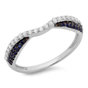 Trang sức Dazzling Rock Dazzlingrock Collection 14K Round Blue Sapphire & Kim cương trắng Nữ Wedding Stackable Band 1/3 CT
