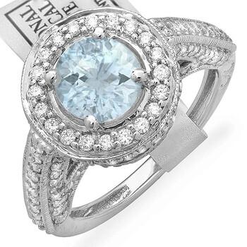 Trang sức Dazzling Rock Dazzlingrock Collection 14K Round Aquamarine & Kim cương trắng Nữ Halo Style Engagement Bridal Nhẫn