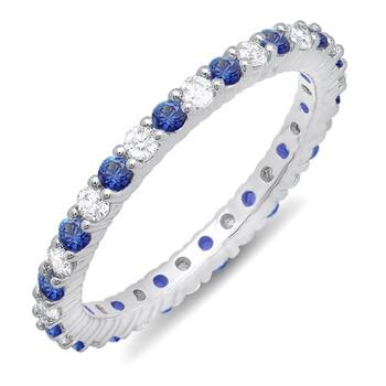 Trang sức Dazzling Rock Dazzlingrock Collection 10K Blue Sapphire & Kim cương trắng Nữ Eternity Anniversary Wedding Band