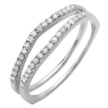 Trang sức Dazzling Rock Dazzlingrock Collection 0.25 Carat (ctw) 18K Round Kim cương trắng Nữ Enhancer Guard Wedding Band