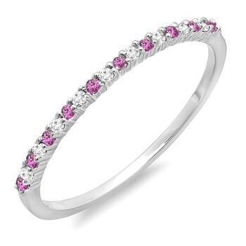 Trang sức Dazzling Rock Dazzlingrock Collection 14K Round Pink Sapphire & Kim cương trắng Nữ Wedding Stackable Nhẫn