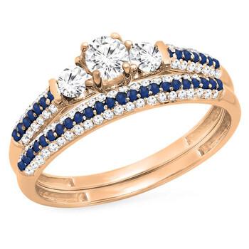 trang sức Dazzling Rock Dazzlingrock Collection 10K Round White & Blue Sapphire & Kim cương trắng Bridal Nhẫn đính hôn Set, Vàng hồng, Size 8 chính hãng sale giá rẻ tại Hà nội TPHCM