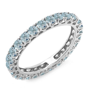 Dazzling Rock Dazzlingrock Collection 1.80 Carat (ctw) 14K Round Aquamarines Eternity Nhẫn cưới 1 3/4 CT, Vàng trắng, Size 6