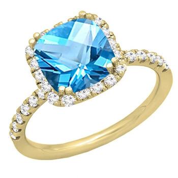 Trang sức Dazzling Rock Dazzlingrock Collection 14K 7.5 MM Cushion Blue Topaz & Round Kim cương trắng Bridal Nhẫn đính hôn, Yellow Gold, Size 7 chính hãng sale giảm giá sỉ rẻ nhất ở Hà nội TPHCM