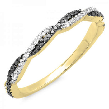trang sức Dazzling Rock Dazzlingrock Collection 0.25 Carat (ctw) 10K Round Đen & Trắng Kim cương Wedding Band 1/4 CT, Yellow Gold, Size 8 chính hãng sale giá rẻ tại Hà nội TPHCM