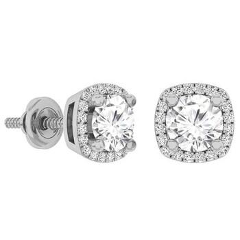 Trang sức Dazzling Rock Dazzlingrock Collection 14K 5 MM Each Round White Sapphire & Kim cương trắng Nữ Halo Stud Bông tai (khuyên tai