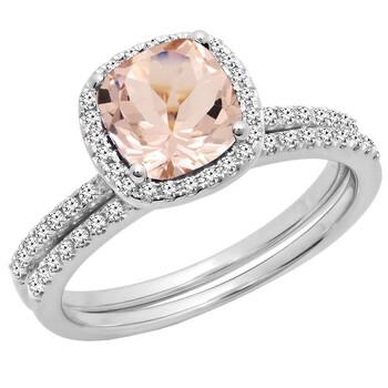 Trang sức Dazzling Rock Dazzlingrock Collection 10K 7 MM Cushion Cut Morganite & Round Cut Kim cương Nhẫn đính hôn nữ Set
