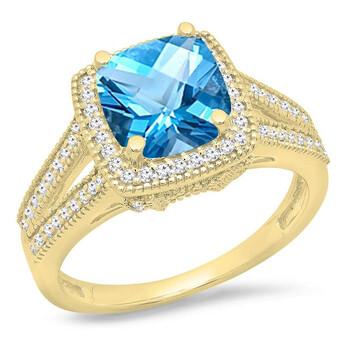 Trang sức Dazzling Rock Dazzlingrock Collection 14K 6.5 MM Cushion Cut Blue Topaz & Round Kim cương Nữ Halo Nhẫn đính hôn