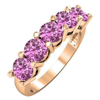 Trang sức Dazzling Rock Dazzlingrock Collection 14K Round 4.5 MM Each Pink Sapphire Nữ 5 Stone Anniversary Nhẫn