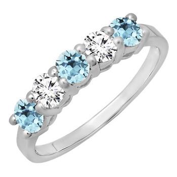 Trang sức Dazzling Rock Dazzlingrock Collection 14K Round Aquamarine & Kim cương trắng Nữ 5 Stone Wedding Band Nhẫn