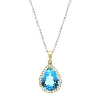 Trang sức Dazzling Rock Dazzlingrock Collection 18K 10X7 MM Pear Blue Topaz & Round Kim cương Nữ Pendant
