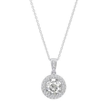 Trang sức Dazzling Rock Dazzlingrock Collection 14K 6 MM Round Cut White Sapphire & Kim cương trắng Nữ Double Halo Pendant, Vàng trắng chính hãng sale giảm giá sỉ rẻ nhất ở Hà nội TPHCM