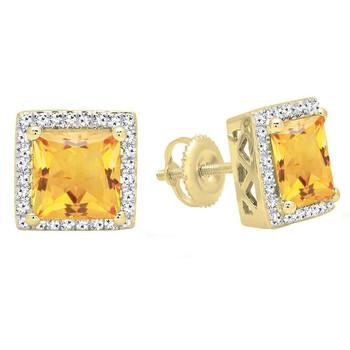 trang sức Dazzling Rock Dazzlingrock Collection 18K 7 MM Each Princess Citrine & Round Kim cương trắng Nữ Stud Bông tai (khuyên tai, hoa tai), Yellow Gold chính hãng sale giá rẻ tại Hà nội TPHCM
