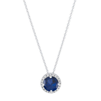 Trang sức Dazzling Rock Dazzlingrock Collection 14K 5 MM Round Blue Sapphire & Kim cương Nữ Halo Pendant (Silver Chain Included)
