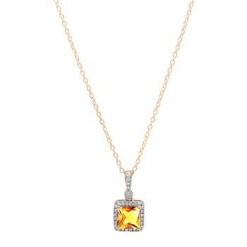 trang sức Dazzling Rock Dazzlingrock Collection 18K 7 MM Princess Citrine & Round Kim cương Nữ Pendant (Gold Chain Included), Vàng hồng chính hãng sale giá rẻ tại Hà nội TPHCM