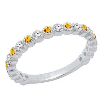 Trang sức Dazzling Rock Dazzlingrock Collection 14K Round Citrine & Kim cương trắng Eternity Stackable Wedding Band