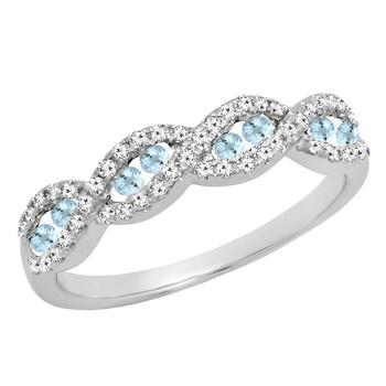 Trang sức Dazzling Rock Dazzlingrock Collection 14K Round Aquamarine & Kim cương trắng Nữ Anniversary Wedding Band, Vàng trắng, Size 7 chính hãng sale giảm giá sỉ rẻ nhất ở Hà nội TPHCM