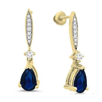 Trang sức Dazzling Rock Dazzlingrock Collection 10K 8X5 MM Each Pear Blue Sapphire & Round Kim cương trắng Nữ Dangling Drop Bông tai (khuyên tai