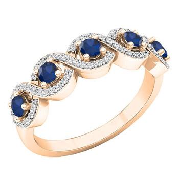 Trang sức Dazzling Rock Dazzlingrock Collection 10K Round Blue Sapphire & Kim cương trắng Nữ Swirl Nhẫn đính hôn