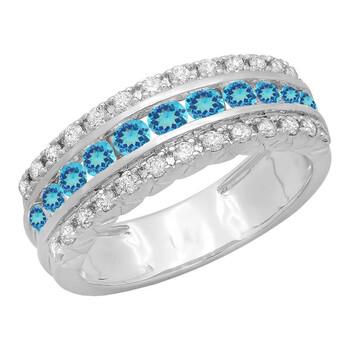 Trang sức Dazzling Rock Dazzlingrock Collection 10K Round Blue Topaz & Kim cương Nữ Engagement Wedding Anniversary Nhẫn