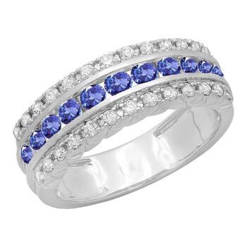 Trang sức Dazzling Rock Dazzlingrock Collection 10K Round Tanzanite & Kim cương Nữ Engagement Wedding Anniversary Nhẫn
