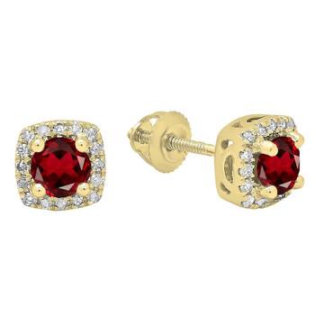 trang sức Dazzling Rock Dazzlingrock Collection 14K Each 4 MM Round Garnet & Kim cương trắng Nữ Halo Stud Bông tai (khuyên tai, hoa tai), Yellow Gold chính hãng sale giá rẻ tại Hà nội TPHCM