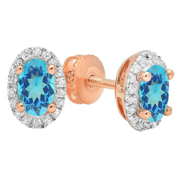 Trang sức Dazzling Rock Dazzlingrock Collection 14K 7X5 MM Each Oval Blue Topaz & Round Kim cương trắng Nữ Halo Stud Bông tai (khuyên tai