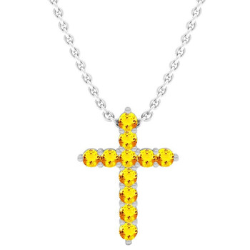 Trang sức Dazzling Rock Dazzlingrock Collection 18K Round Citrine Nữ Cross Pendant (Silver Chain Included)