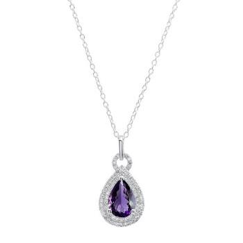 Trang sức Dazzling Rock Dazzlingrock Collection 14K 10X7 MM Pear Amethyst & Round Kim cương Nữ Pendant (Silver Chain Included)