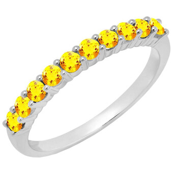 Trang sức Dazzling Rock Dazzlingrock Collection 10K Round Citrine Nữ Stackable Anniversary Wedding Band