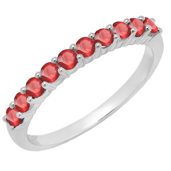 Trang sức Dazzling Rock Dazzlingrock Collection 10K Round Ruby Nữ Stackable Anniversary Wedding Band