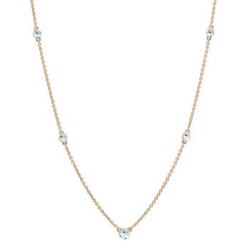 Trang sức Dazzling Rock Dazzlingrock Collection 14K Round Aquamarine Nữ Dây chuyền (vòng cổ), Vàng hồng chính hãng sale giảm giá sỉ rẻ nhất ở Hà nội TPHCM