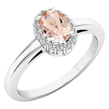 Trang sức Dazzling Rock Dazzlingrock Collection 18K 6X4 MM Oval Morganite & Round Kim cương Nữ Halo Nhẫn đính hôn