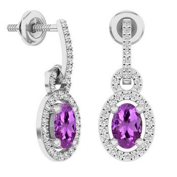 Trang sức Dazzling Rock Dazzlingrock Collection 10K 6X4 MM Oval Amethyst & Round Kim cương trắng Nữ Dangling Drop Bông tai (khuyên tai