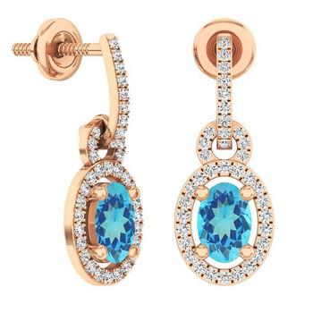Trang sức Dazzling Rock Dazzlingrock Collection 14K 6X4 MM Oval Blue Topaz & Round Kim cương trắng Nữ Dangling Drop Bông tai (khuyên tai
